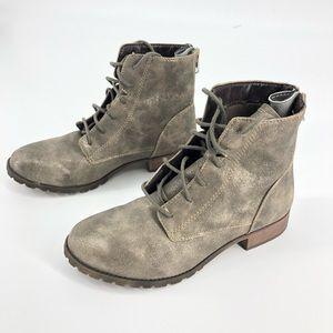 Mossimo Beige Metallic Shoe Ankle Boot Zippers